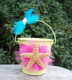 Flower Girl Basket for a Beach Wedding, Tropical Wedding, Destination Wedding,Yellow Beach Wedding, Aqua and Pink Beach Wedding on Etsy, $22.00