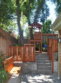 Front Yard Fence Design Ideas, Pictures, Remodel and Decor Backyard Playset, Backyard Playhouse, Backyard Playground, Backyard Fences, Backyard Landscaping, Outdoor Playset, Yard Fencing, Playground Ideas, Fence Design