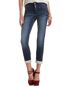 High-Waisted Dark Wash Skinny Jeans: Charlotte Russe