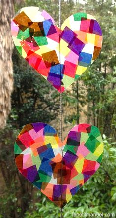 Easy heart craft: contact paper & tissue paper for a stained glass look sun catcher Projects For Kids, Diy For Kids, Art Projects, Crafts For Kids, Arts And Crafts, Paper Crafts, Diy Crafts, Valentine Day Crafts, Valentines