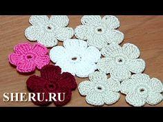 Вязание цветка Урок 28 Часть 1 Цветок для наборного кружева