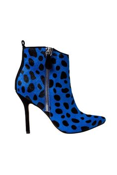 Isa Tapia Blavck Dotted Blue Ankle Boots  RTW Fall 2014 #Booties #Shoes #Heels