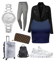 """""""comfy traveling ✈️"""" by boturovic-kristina on Polyvore featuring Michael Kors, NIKE, LE3NO, Louis Vuitton, CalPak and rag & bone"""