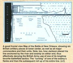"""View Image -  A good frontal view Map of the Battle of New Orleans, showing six British artillery pieces at lower center, as well as all major commanders and their units. Note, too, how Jackson placed his line anchored by the river and swamp on either end, thus effectively denying the British Army use of one of its longtime favorite battlefield tactics: The """"turning"""" of one of the enemy's flanks and then the subsequent roll up of his entire line. (LC)"""