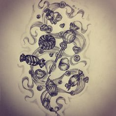 Candy tattoo sketch by - Ranz