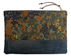 German camouflage and aged denim large zippered Pouch