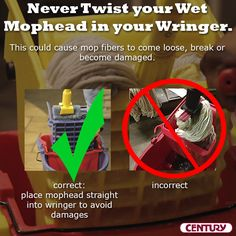 Don't damage your mophead during the cleaning process