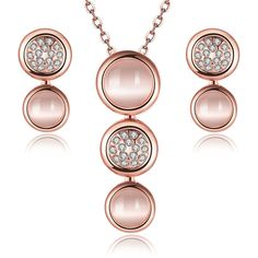 jewelry sets 18k rose gold plated wedding women opal circular lovers... ($13) ❤ liked on Polyvore featuring jewelry, 18k jewelry, crystal jewelry, 18 karat gold jewelry, party jewelry and opal jewelry