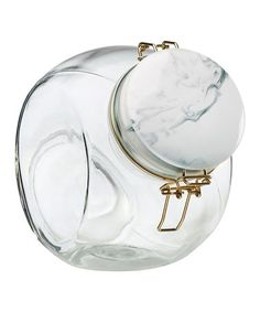 Look what I found on #zulily! Marble-Look Space Saver Glass Canister #zulilyfinds