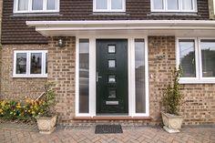 Front Door in Hook - Thames Valley Windows Best Front Doors, Front Doors With Windows, House Front Porch, Door Hooks, External Doors, Entrance Doors, New Builds, New Homes, Exterior