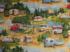 Items similar to Vintage Trailer Retro RV Camper Moutain Truck Cotton Fabric Fat Quarter Or Custom Listing on Etsy Vintage Motorhome, Vintage Camper Interior, Vintage Rv, Vintage Caravans, Vintage Trucks, Rv Interior, Interior Ideas, Vintage Picnic, Vintage Vans