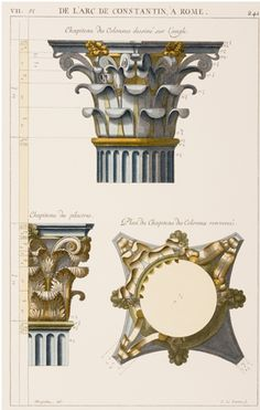 Roman Plate VII - detail of column from the Arch of Constantine, Rome