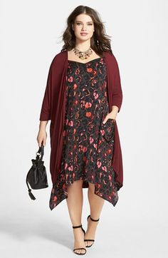 8f91b95687 Sejour Long Cardigan & Washed Satin Slipdress (Plus Size) available at # Nordstrom