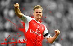 Download wallpapers 4k, Rob Holding, Arsenal, art, footballers, grunge, The Gunners, soccer, Premier League, FC Arsenal
