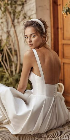 lihi hod fall 2020 bridal sleeveless straight across thick straps minimalist a l. lihi hod fall 2020 bridal sleeveless straight across thick straps minimalist a line ball gown wedding dress chapel train zbv -- Lihi Hod Fall 2020 Wedding Dresses Lace Wedding Dress, Wedding Dress Trends, White Wedding Dresses, Bridal Dresses, Wedding Gowns, Elegant Dresses, Wedding Bride, Sexy Dresses, Summer Dresses