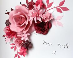 Over the Crib Paper Flower Set - Nursery Paper Flowers - Paper Flowers Wall Decor (code: - Papel Art Big Paper Flowers, Paper Flower Decor, Paper Peonies, How To Make Paper Flowers, Paper Flower Backdrop, Flower Wall Decor, Flower Decorations, Paper Roses, Blush Nursery