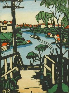 A Sydney Bay, Margaret Preston, handcoloured woodblock print, 25 x private collection. Woodcut Art, Linocut Prints, Australian Painting, Australian Artists, Landscape Art, Landscape Paintings, Landscapes, Tasmania, Margaret Preston