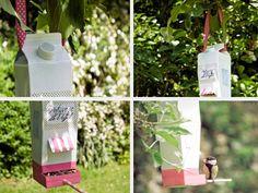Tutoriel DIY: Fabriquer une mangeoire pour oiseaux avec une brique tetrapack via DaWanda.com