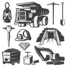 Mining Industry Elements Set