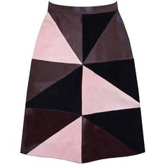 Florence Bridge - Maisie Patchwork Leather Skirt ($480) ❤ liked on Polyvore featuring skirts, knee length skirts, high-waist skirt, patchwork skirts, real leather skirt and knee length leather skirt