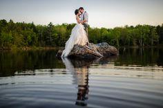 Beautiful lake wedding portrait by Applehead Studio