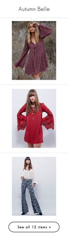 """""""Autumn Belle"""" by freepeople ❤ liked on Polyvore featuring mini slip, free people slip, dresses, red shift dress, eyelash lace dress, bell sleeve shift dress, red bell sleeve dress, red dress, white deep v neck dress and free people dresses"""