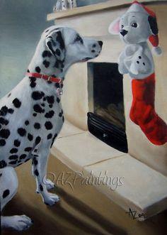 christmas dalmatian photos | Christmas Is Coming! - Dalmatian dog oil painting, original painting ...