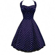 db7a19b936 Shop Lafrock 'Audrey Navy polka dot Dress' Vintage Jive Rockabilly Swing  Dance Prom Dress Free delivery and returns on eligible orders.