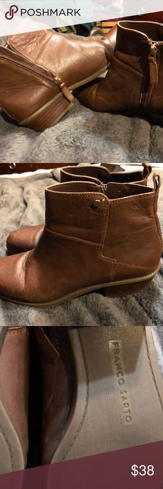 Franco Sarto ankle booties Never worn just a little dusty from being in the closet but will clean for you!! They have a low heel and the width is a medium fit! Franco Sarto Shoes Ankle Boots & Booties