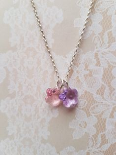 Pink lilac swarovski flowers pendant crystal necklace special gifts for her…