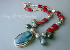 Tibetan Pendant Red Bamboo Coral Labradorite Necklace by hogwildjewelry on Etsy https://www.etsy.com/listing/163105646/tibetan-pendant-red-bamboo-coral