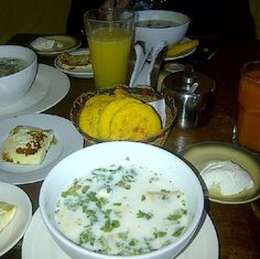 Breakfast in Tachira State, Venezuela.  Its mais component is the Pizca Andina, watery soup with potato, ciboulette, onion, garlic, coriander leaves, cooked egg, milk, oil. Other components are arepas made of yellow corn dough, fried sliced cheese, milk cream, and orange juice. It is a Way of eating at the Venezuelan style #ComerVenezolano