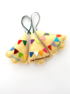 Personalized ornaments, Christmas felt ornaments, custom family ornaments in beige with colorful bunting