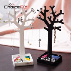 CHOICE FUN New Arrival 2 Color Fashion Storage Rack Necklace Bracelet Jewelry Display Box Cute Small Tree For Storage SF-84017