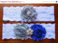 Royal Blue and Gray Garter Royal Blue Garter by BloomsandBlessings