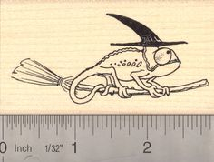 Chameleon Witch on Broom, Halloween Rubber Stamp (H14108) $10 at RubberHedgehog.com