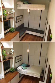 Tiny House Living: Retractable bed designed and built by Nathan Nosta...