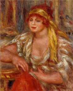 Andree in Yellow Turban and Blue Skirt - Pierre-Auguste Renoir