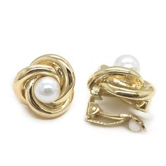Gold Plated Single Knot Simulated Pearl Fashion Clip on Earrings >>> See this awesome image  : jewellery