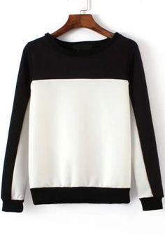 Round Neck Color-block Sweatshirt