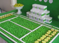 Love love this! party idea; tennis cookies & green m&m's