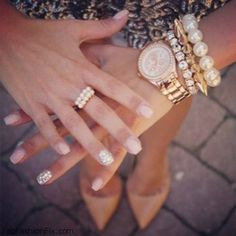 Layered gold bracelets + watch + neutral nails <3