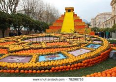 MENTON, FRANCE - FEBRUARY 26: Art made of lemons and oranges in the famous Lemon Festival (Fete du Citron) on February 26, 2011, Menton, France. The famous fruit garden receives 230,000 visitors a year.