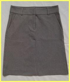EUC THEORY BEIGE BROWN STRETCH COTTON HOUNDSTOOTH SIDE SLIT A-LINE SKIRT 0 2 XS #Theory #ALine
