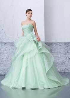 mint green tulle ballgown