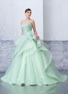mint green tulle ballgown