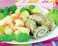 schab na parze z warzywami Fresh Rolls, Bagel, Cantaloupe, Fruit, Vegetables, Cooking, Ethnic Recipes, Fitness, Food