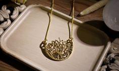 Röötz Lotus Flower Goddess necklace ,tribal necklace,brass jewelr, Tribal Jewellery, Ethnic Jewelry, brass necklace ,lotus flower pendant
