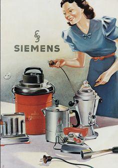 #Siemens #advertising around 1935. The woman has everything under control. // Siemens #Werbeanzeige um 1935. Die Frau hat alles im Griff. #design #historie #küche #kitchen #staubsaugen #hoovering #history #enjoysiemens