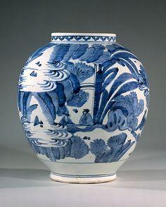 Vase with Figures in Landscape  Period: Edo period (1615–1868) Date: ca. 1660–80 Culture: Japan Medium: Porcelain painted with cobalt blue under transparent glaze (Hizen ware) Dimensions: H. 11 1/4 in. (28.5 cm); Diam. 10 1/8 in. (25.7 cm) Classification: Ceramic